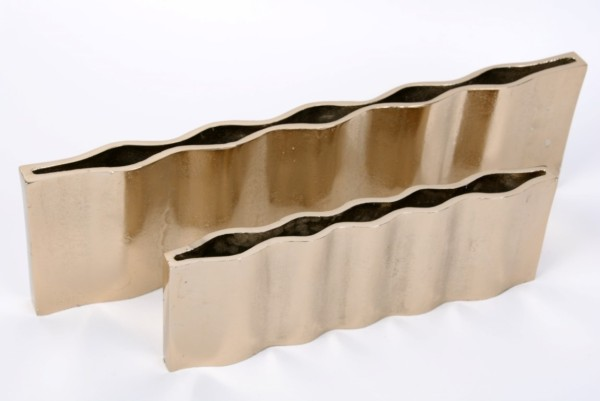 Vase Aluguss rechteckig 46x3,5xH13cm