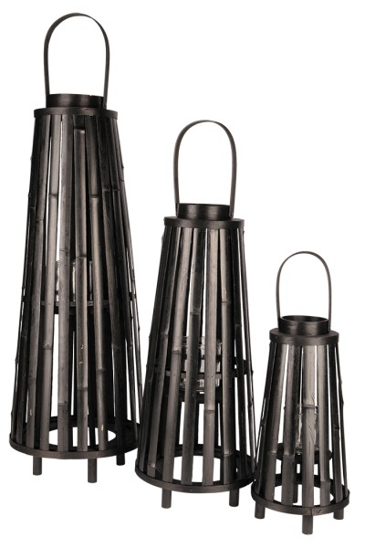 Laterne Bambus rund konisch - D30xH83/99cm