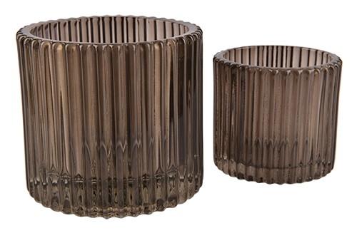 Glas Teelicht Stripes D7xH6,5cm