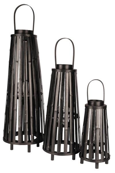 Laterne Bambus rund konisch - D26xH60/76cm